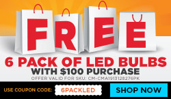 Free 6 Pack of LED A19s with $100 purchase