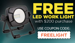 Free LED Work Light with $200 purchase!