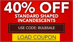 40% Off Standard Shaped Incandescents