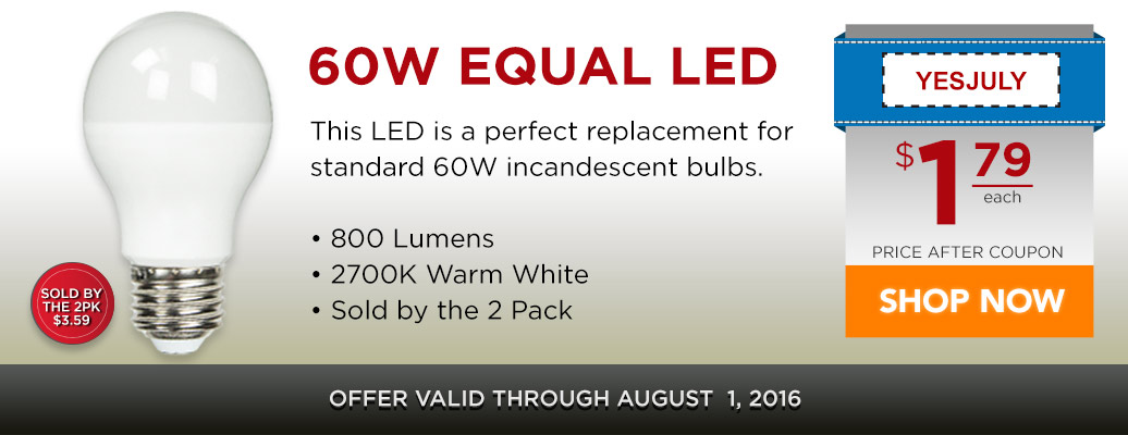 60W Equal Standard Shape LED for $1.79 after coupon!