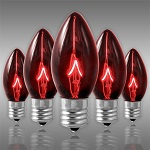 Red C9 Incandescent Christmas Light Bulbs