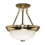 Semi Flush Ceiling Fixtures Brass and Gold Finish