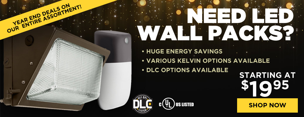 LED Wall Packs, starting at $19.95